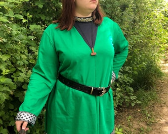 Viking Tunic - Long Sleeve - Viking Garb - Viking Clothing - Viking Costume - Your Choice Size, Color, Embroidery & Trim - Made to Order