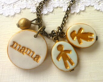 Gift for mom from Kids, boy charm necklace, girl charm necklace, necklace for mom, family jewelry for mom, Mother's Day 2018