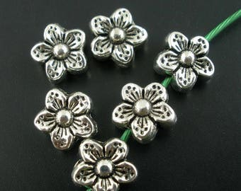 20 distressed acrylic flower beads