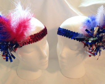 Red, White, Blue Sequined Hat/Headband (Red or Blue) (HAT NOT INCL)