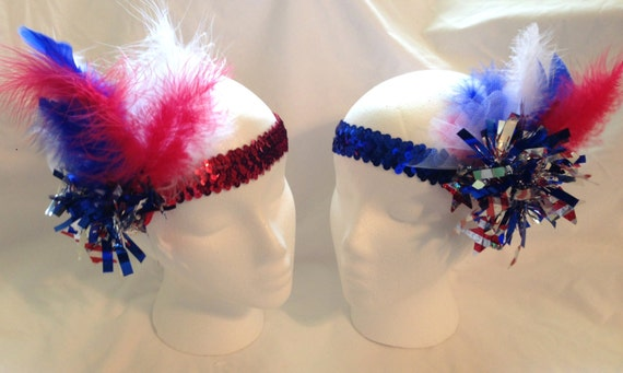 Red, White, Blue Sequined Hat/Headband (Blue or Red Band) (HAT NOT INCL)