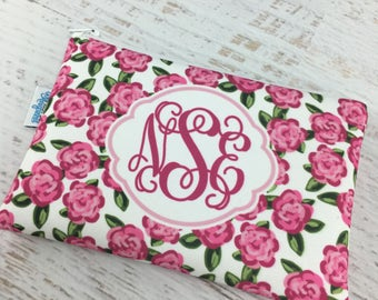 Pink Rose Monogrammed Cosmetic Make Up Bag   Bridesmaid Gift   Wedding Gift   Gift for Her   Gift for Bride