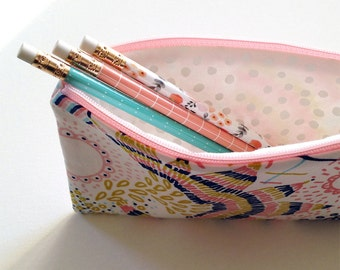 Pencil case, pencil pouch, makeup bag, cosmetic bag, zipper bag, travel case, purse organizer, accessories bag, purse essentials zipper bag