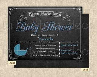 Chalkboard printable baby shower invitation, Stroller baby shower invitation, digital invitation