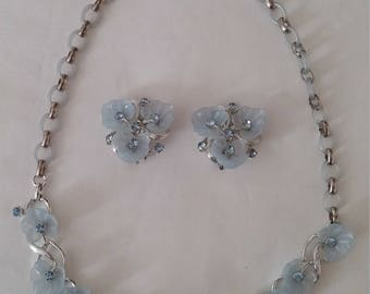 Vintage  Blue Rhinestone  Flower Necklace and Earring Set