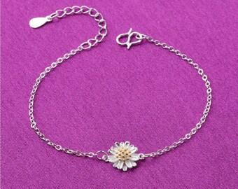 Sunflower Bracelet Sterling Silver, Sunflower Bracelet, Bridesmaid Jewelry, Sunflower Jewelry, Summer Jewelry, Sun Flower