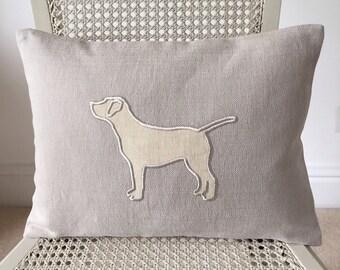 Custom Dog  pillow cover with labrador appliqué