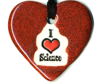 I love Science Ceramic Necklace in Shimmering Red