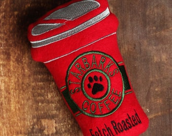 Christmas Red Starbucks Coffee Cup Starbucks Stuffed Dog Toy with Squeaker