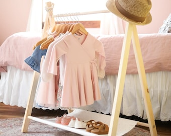 Mini Children's Clothing Rack (Cotton Canvas Shelf) Child's Clothing Rack, Dress Up Rack, Toddler Dress Up, Modern Clothing Rack, Children