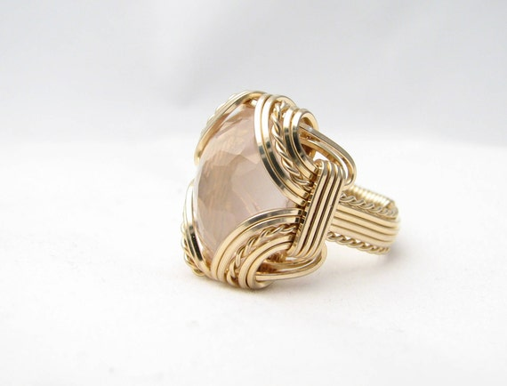 Rose Quartz Ring Wire Wrapped 14 kt Gold Filled Faceted Gemstone Available 18x13mm 10ct