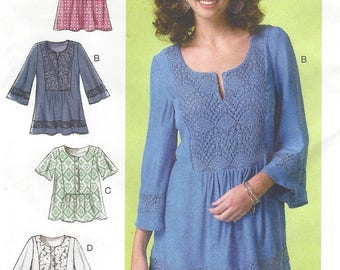 Womens Peasant Tops or Hippie Tunics Bodice and Sleeve Variations McCalls Sewing Pattern M7128 Size 4 6 8 10 12 14 Bust 29 1/2 to 36 FF