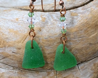 sea glass/Swarovski crystals/ copper earrings