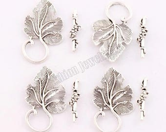 clasps T 35 * 20 mm, set of 2 silver vine leaf