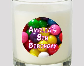 """Gumballs 2"""" Party Favor labels Great for personalizing events Birthday Party Wedding Candles, cupcake toppers Mason Jar decals, Stickers"""