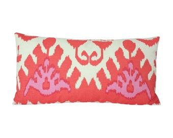 Kazak Orange & Pink Quadrille Designer Pillow Cover - Custom Made-to-Order