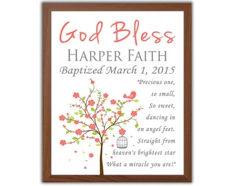 Coral Pink Baptism Gift For Girl - Baptism Tree And Quote - Christening Gift - Gift From Godparents