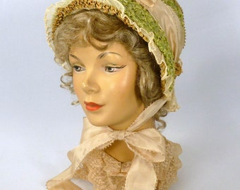 Repoduction 1800s Green Straw Bonnet Hat - Straw,Ribbon,Lace,Trim &Rhinestone Brooch - Downton Abbey - SASS - Costume - Re-enactor