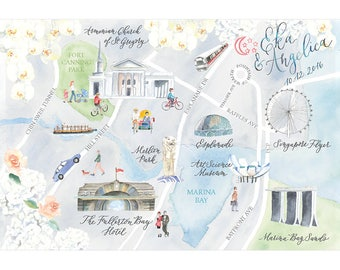 Watercolor Map, Wedding Map, Custom Stationery, Handpainted, One of a kind