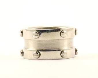 Vintage Nut Design Wide Band Ring 925 Sterling RG 990