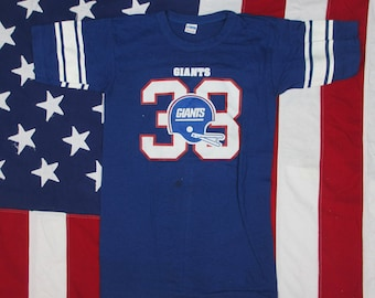 Vintage 1980's New York Giants Football Jersey T-Shirt #33 XS/Small Champion Soft NFL Super Bowl George Adams Red White Blue Helmet