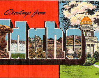 Linen Postcard, Greetings from Idaho, State Capitol, Boise River, Large Letter, ca 1950