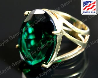 Big Over Sized Cocktail Statement Finger Ring Emerald Glass Jewel Gem Sterling Silver Plated, Polished Brass, Rose Gold