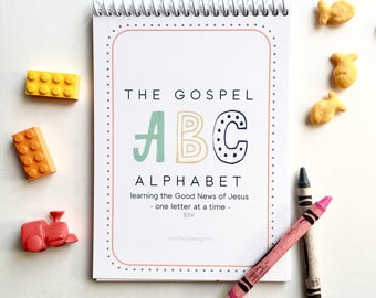 ESV, Gospel Alphabet, ABC book, Chart, Children, Bible verse, Scripture cards, ESV, kids, memory card, stocking