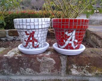Monogram Tile Mosaic Pots-Red & White or custom colors