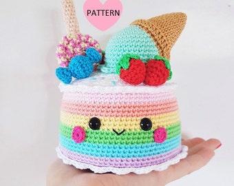 Rainbow Candy Cake - PDF Pattern, crochet, amigurumi