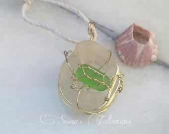 Seaglass Pendant - Silver wire wrapped seaglass pendant of white and green