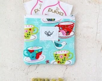 Tea accessories, Tea Bag, Tea Wallet, Tea Gifts, Tea Time zipper pouch Travel tea holder fabric pouch Gift for her tea lover large mini