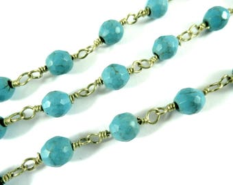 3ft Turquoise Beaded Chain Brass 6mm Turquoise Color  Stone Designer Chain Opaque Faceted Round Rosary 6mm - 36 inch - STR9101CH-TQB36