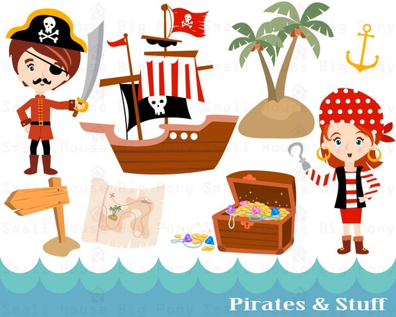 Pirate Clipart- Pirate Boy and Girl digital clip art, Pirate Ship Clipart, Clip art download