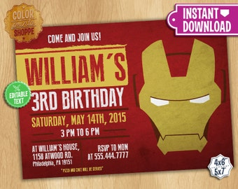 Iron man invite Etsy