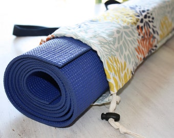 Floral Canvas Yoga Mat Bag