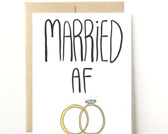 Married AF Card, Funny Wedding Card, Wedding Card, Wedding Gift, Wedding Stationery, Mr and Mrs, Mr and Mr, Mrs and Mrs, Gay Wedding Card