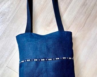 Navy linen tote bag