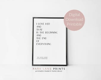 Great Gatsby Poster | F Scott Fitzgerald Quote | Gatsby Quote | Valentines Gift | Literary Quote | Book Quote | Printable Wall Art | Gift