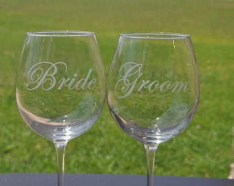 Etched Bride and Groom Personalized Sand Carved Wine Glasses for the Bride and Groom, Brides, Grooms by JackGlass on Etsy.com