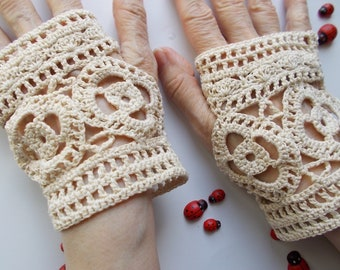 Crocheted Cotton Gloves L Ready To Ship Victorian Fingerless Summer Women Wedding Lace Evening Hand Knitted Party Opera Ivory Corset B94