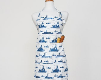 Blue Tugboat Adult Apron - Kitchen Apron - Adult Cotton Apron with Tugboats - Adult Organic Apron - GOTS Certified