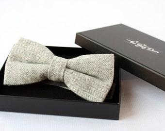 Nœud Papillon en laine chevron Gris Clair pour homme élégant