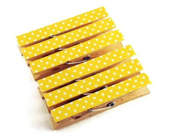 Altered Clothespin  Clips  Decorative  Wooden Clothes pins in Lemon Polka Dots