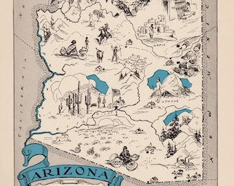 30's Vintage ARIZONA Picture Map Pictorial State Cartoon Map Print Travel Map Gallery Wall Art Library Office Decor  Wedding Birthday Gift