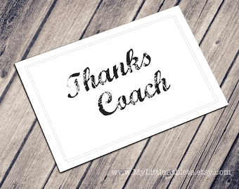 Thank You Coach Card - DIGITAL DOWNLOAD -  Greeting Card, New Job Card, Digital Card