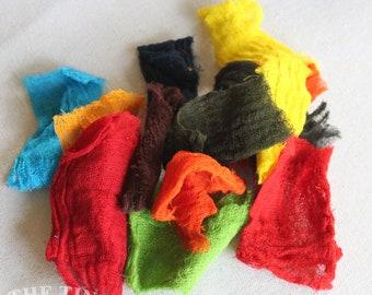 Hand Dyed Cotton Cheesecloth / Mixed Bag / Gauze / Scrim / Felting Texture / Felting Fiber / Multi Color -1/2 Oz- Wet Felting / Nuno Felting