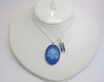 The Wibbly Wobbly Timey Wimey necklace - police box - science fiction - glass cabochon necklace
