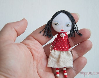 Little Girl, Art Doll Brooch, gift for her