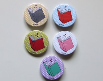 Book Lover Polka Dot Button - 38mm Small Pin - Illustration  - Fridge Decoration - Book Addict - Pinback Button